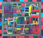 Fabric Art Tapestries - Textiles Prints - Dyed Abstract Print by Patty Caldwell