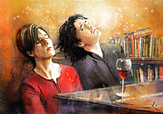 Wine Glass Mixed Media Posters - Dylan Moran and Tamsin Greig in Black Books Poster by Miki De Goodaboom