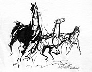 Wild Horses Drawings - Dynamic and wild by Mary Armstrong