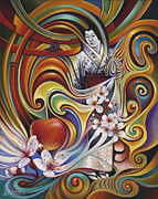 Flor Paintings - Dynamic Blossoms by Ricardo Chavez-Mendez