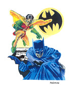 League Drawings Prints - Dynamic Duo Print by Peter Melonas
