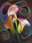 Flor Paintings - Dynamic Floral 4 Cala Lilies by Ricardo Chavez-Mendez