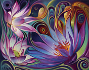 Lotus Framed Prints - Dynamic Floral Fantasy Framed Print by Ricardo Chavez-Mendez