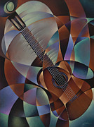 Bridge Painting Originals - Dynamic Guitar by Ricardo Chavez-Mendez
