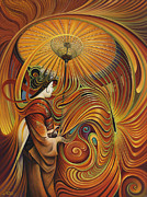 Orange Painting Originals - Dynamic Oriental by Ricardo Chavez-Mendez