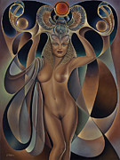 Nude Framed Prints - Dynamic Queen V Framed Print by Ricardo Chavez-Mendez