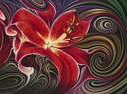 Flor Paintings - Dynamic Red by Ricardo Chavez-Mendez