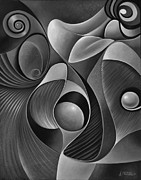 Female Painting Originals - Dynamic Series 22-Black and White by Ricardo Chavez-Mendez