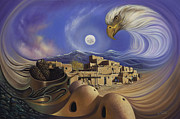 Eagle Painting Framed Prints - Dynamic Taos Ill Framed Print by Ricardo Chavez-Mendez