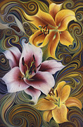 Flor Paintings - Dynamic Triad by Ricardo Chavez-Mendez