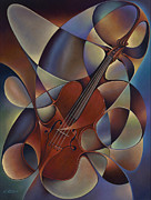 Curvismo Framed Prints - Dynamic Violin Framed Print by Ricardo Chavez-Mendez
