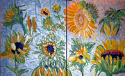 Yellow Flower Reliefs Prints - Dyptich Sunflower Print by Vicky Tarcau