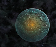 Planet System Painting Prints - Dyson Sphere Print by Lynette Cook