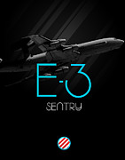 E Black Prints - E-3 Sentry Blackout Print by Reggie Saunders