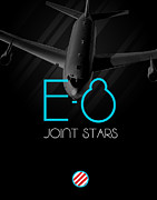 E Black Prints - E-8 Joint Stars Blackout Print by Reggie Saunders