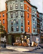 Antiques Paintings - E and W Broadway by Deb Putnam