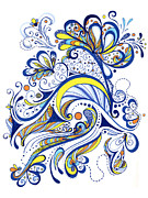 Swirly Drawings Framed Prints - Each Day Is A Celebration Framed Print by Peggy Markham