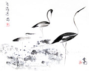 Crane Painting Framed Prints - Each Finds Joy In His Own Way Framed Print by Oiyee  At Oystudio
