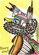 Hopi Mixed Media Prints - Eagle 2 - ACEO Print by Dalton James