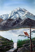 Eagle Cliff Paintings - Eagle at Denali by Stephen Schaps