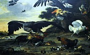 Eagle Painting Framed Prints - Eagle Attacking Framed Print by Pg Reproductions