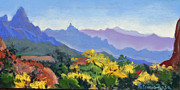 Zion National Park Pastels - Eagle Craggs Vista by Patricia Rose Ford