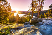 Splashing Prints - Eagle Falls Emerald Bay Lake Tahoe Sunrise First Light Print by Scott McGuire