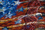 American Eagle Paintings - Eagle Flag by Dennis Line