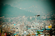Tibetan Buddhism Prints - Eagle fly about Kathmandu Print by Raimond Klavins