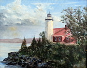 Coast Guard Painting Posters - Eagle Harbor Light Poster by Lee Piper