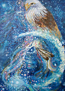 American Eagle Paintings - Eagle Illumination of Spirit by Ashleigh Dyan Moore