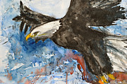 Gruenwald Mixed Media Framed Prints - Eagle in Flight Framed Print by Ismeta Gruenwald