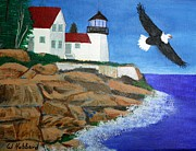 Maine Drawings Originals - Eagle Isle Light in Casco Bay Maine by Bill Hubbard