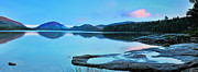 Sunset Posters Posters - Eagle Lake Maine - Panoramic view Poster by Thomas Schoeller