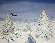 Winter Landscape Paintings - Eagle on Winter Lanscape by Georgeta  Blanaru