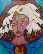 Shiloh Sophia Art Framed Prints - Eagle Shaman Framed Print by Havi Mandell