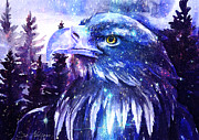 Animal Portrait Paintings - Eagle by Slaveika Aladjova