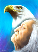 American Eagle Paintings - Eagle Spirit by Amatzia Baruchi