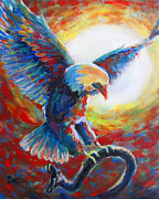 Eagle Painting Framed Prints - Eagle takes Charge Framed Print by Cindy Elsharouni