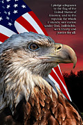 50 Stars Posters - Eagle With Pledge Allegiance Poster by Thomas Woolworth