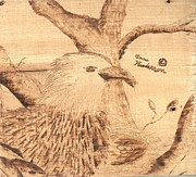 Mother Pyrography Posters - Eagles nest Poster by Anna  Henderson