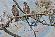 Strength Photo Posters - Eaglets in Oil Poster by Deborah Benoit