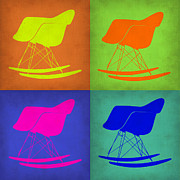 Rocking Chair Framed Prints - Eames Rocking Chair Pop Art 1 Framed Print by Irina  March