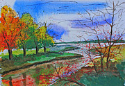 Shakhenabat Kasana Paintings - Early Autumn Landscape by Shakhenabat Kasana
