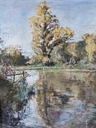Reflection On Calm Pond Prints - Early Autumn on the River Test Print by Caroline Hervey-Bathurst
