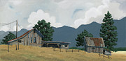Barn Paintings - Early Bigfork Farmstead by John Wyckoff