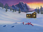 Mountain Cabin Painting Framed Prints - Early Christmas Morn Framed Print by Jack Malloch