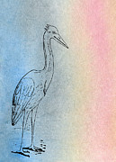 Wings Artwork Mixed Media Prints - Early Crane Print by R Kyllo