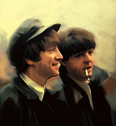 John Lennon  Drawings Prints - Early Days John Lennon and Paul McCartney Print by Iconic Images Art Gallery David Pucciarelli