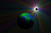 Solar Eclipse Digital Art - Early Earth Lunar Eclipse by Ricky Haug